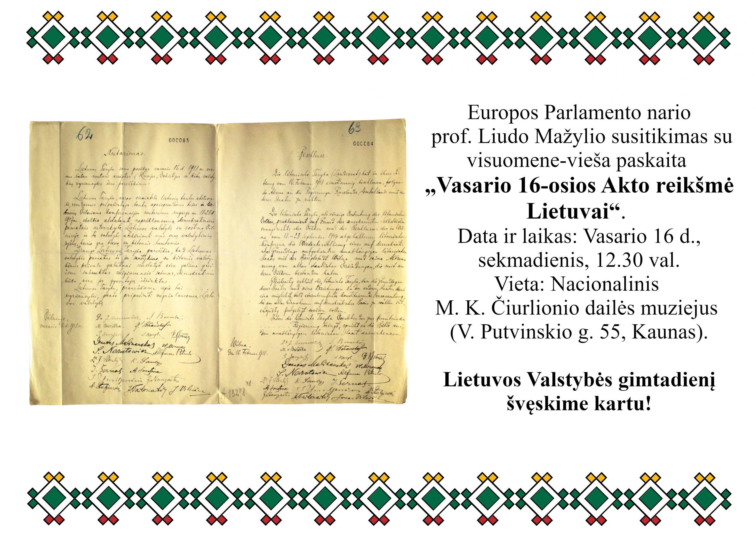 L. Mažylio vieša paskaita ir susitikimas su visuomene Kaune