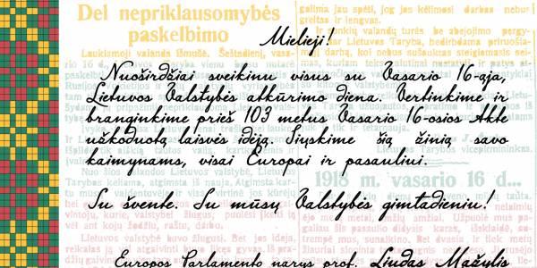 Prof. Liudas Mažylis sveikina su Vasario 16-ąja