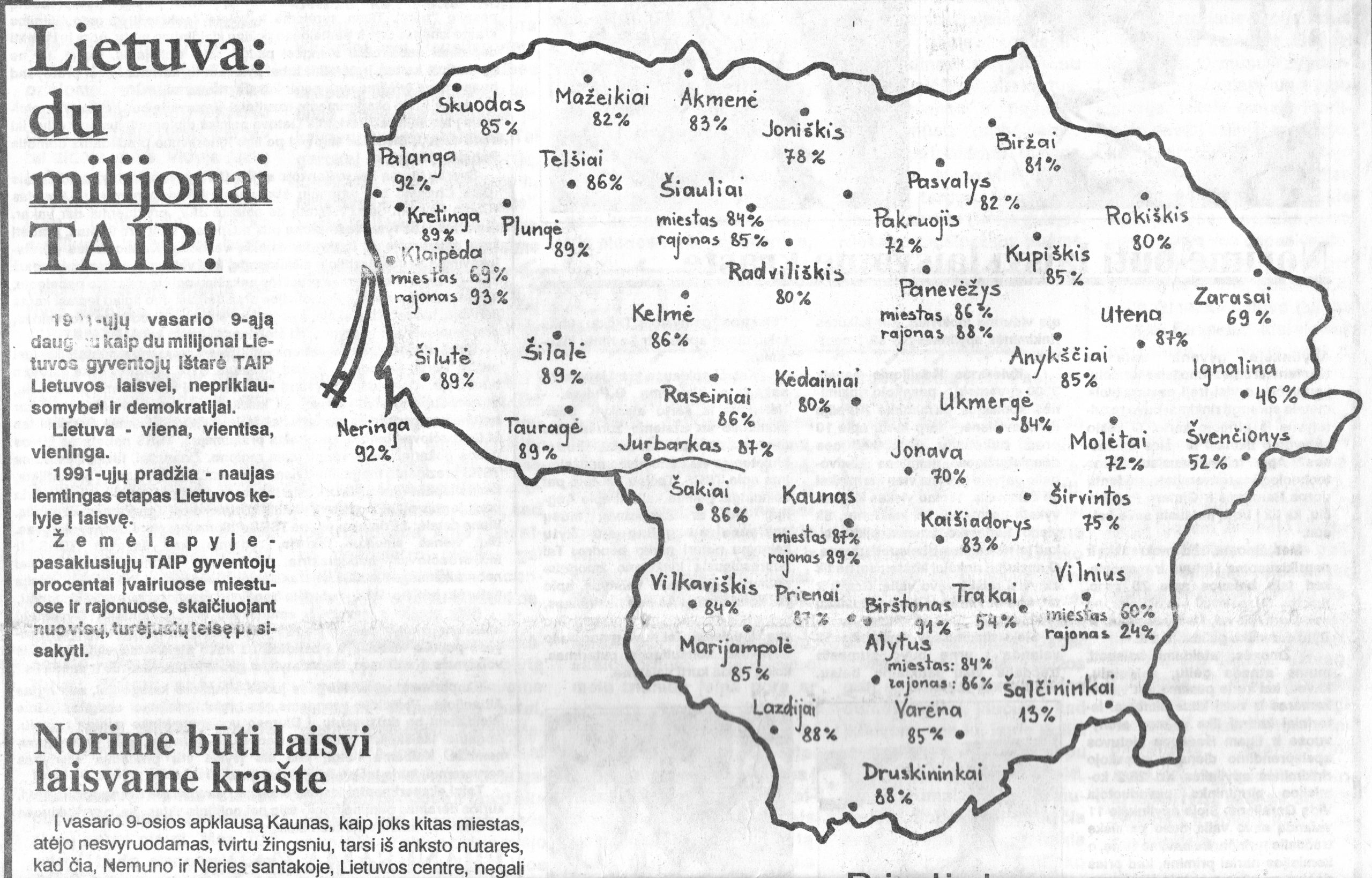 Kauno laike publikuotas Liudo MaŽylio renka išpieštas referendumo žemėlapis. 1991 m. vasario 12 d.