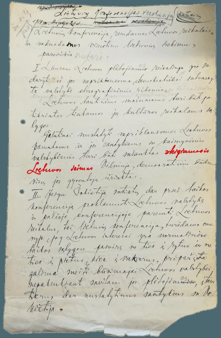 Jurgio Šaulio ranka rašyta 1917 rugsėjo 18-22 d. rezoliucija.