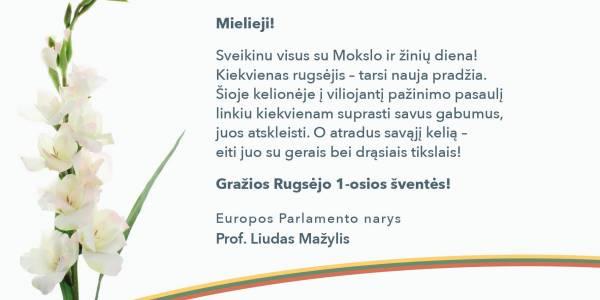 Liudas Mažylis sveikina su Mokslo ir žinių diena!